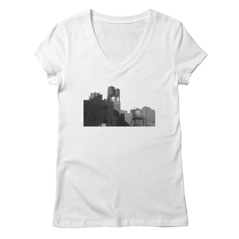 Water Towers Women's V-Neck by Howard Forrester's Artist Shop
