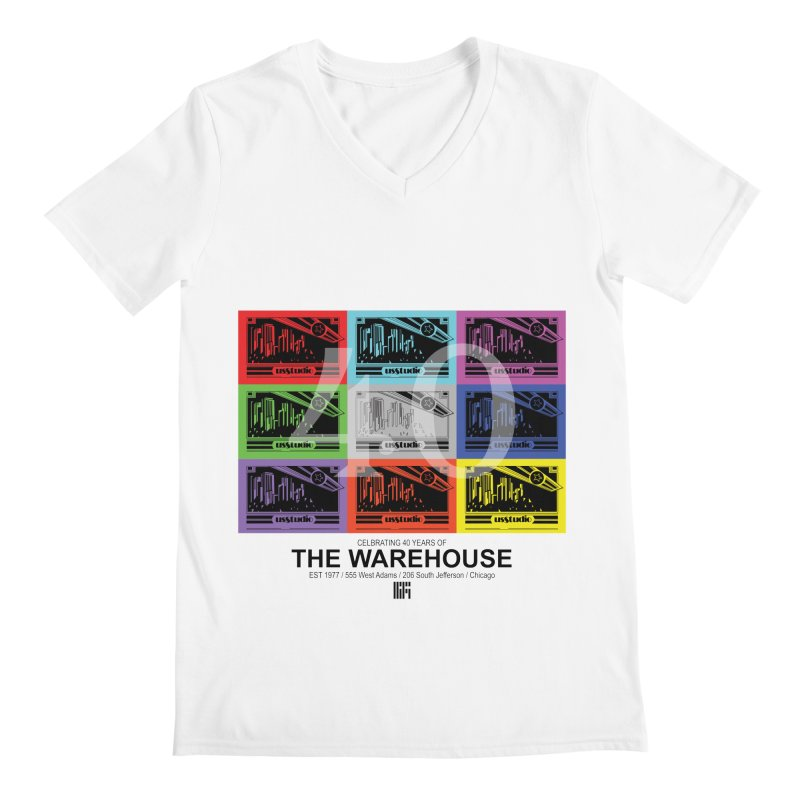 Warehouse 40th Anniversary Tile (Black Design) Men's V-Neck by HiFi Brand