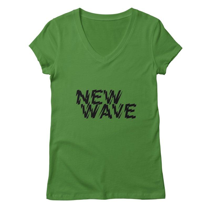 New Wave (Black Design) Women's V-Neck by HiFi Brand