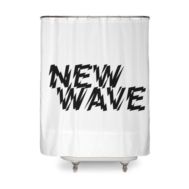 New Wave (Black Design) Home Shower Curtain by HiFi Brand