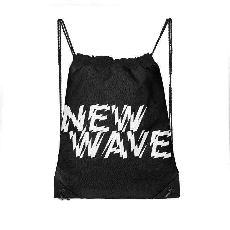 New Wave (White Design) Accessories Drawstring Bag Bag by HiFi Brand
