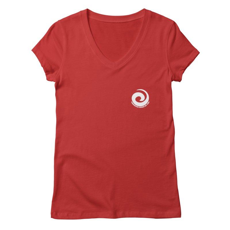 Prescription Records Small Logo (White) Women's V-Neck by HiFi Brand