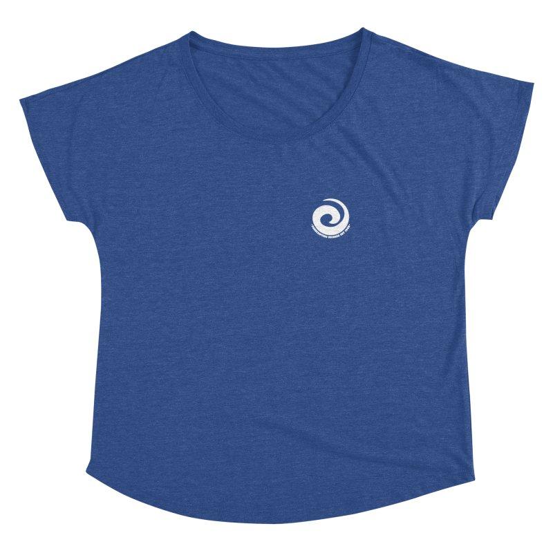 Prescription Records Small Logo (White) Women's Dolman Scoop Neck by HiFi Brand