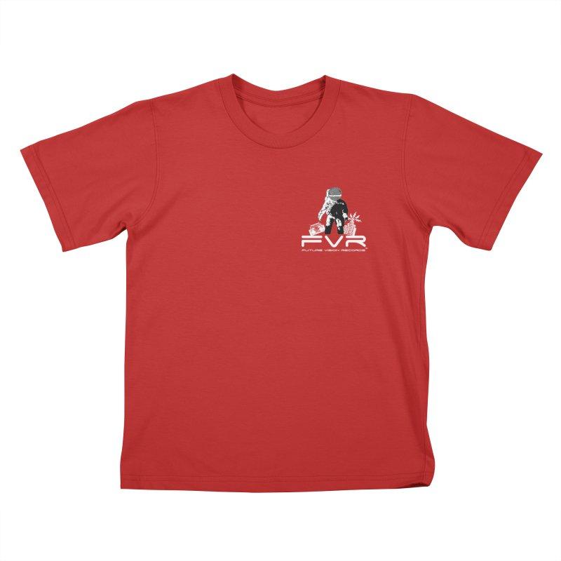 Future Vision Records Small Logo (White) Kids T-Shirt by HiFi Brand