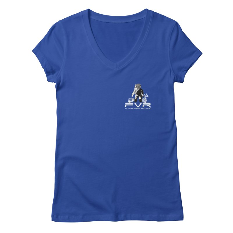 Future Vision Records Small Logo (White) Women's Regular V-Neck by HiFi Brand