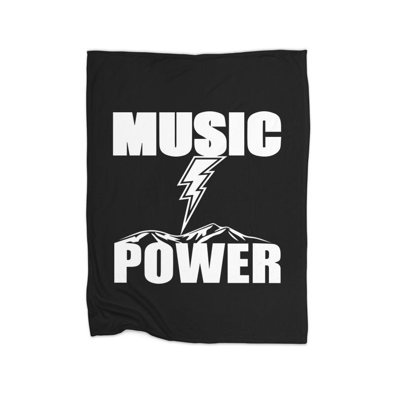 MUSICANDPOWER Big Logo (White) Home Fleece Blanket Blanket by HiFi Brand