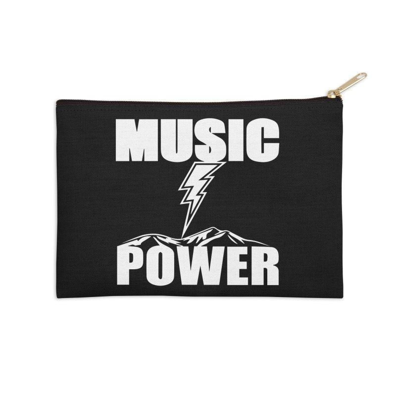 MUSICANDPOWER Big Logo (White) Accessories Zip Pouch by HiFi Brand