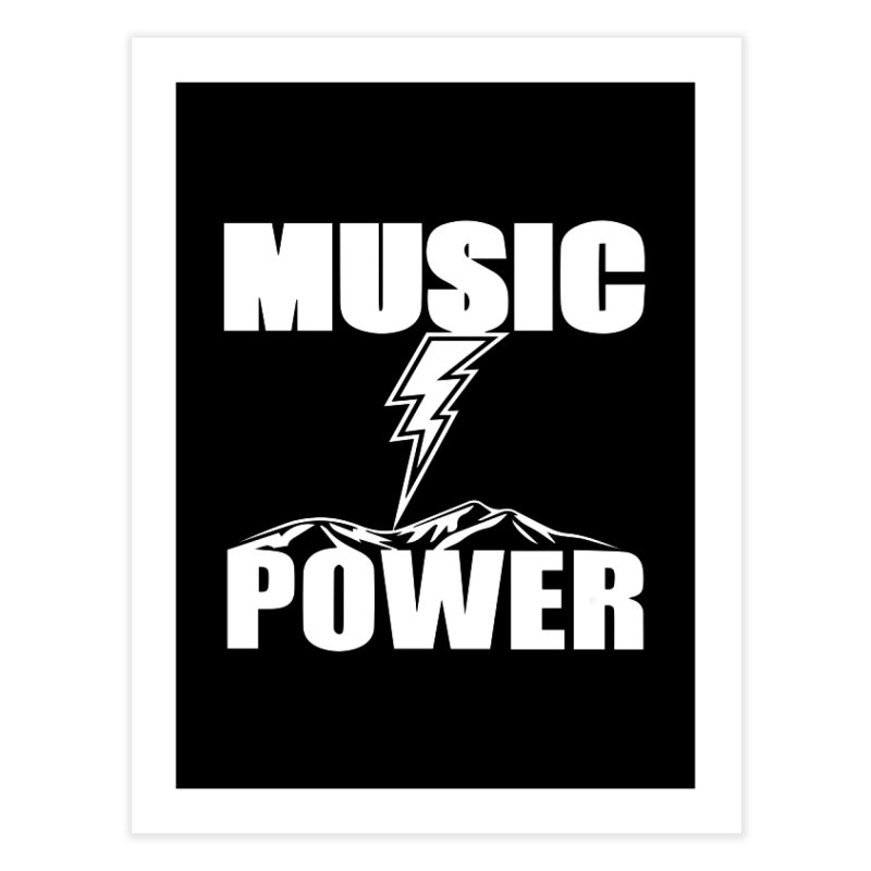 MUSICANDPOWER Big Logo (White) Home Fine Art Print by HiFi Brand