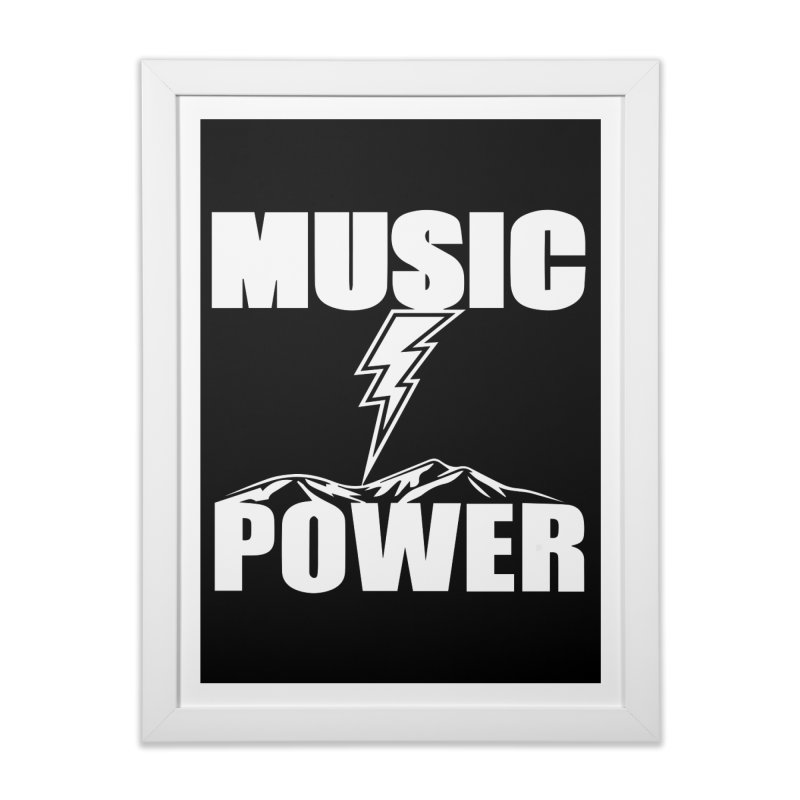 MUSICANDPOWER Big Logo (White) Home Framed Fine Art Print by HiFi Brand