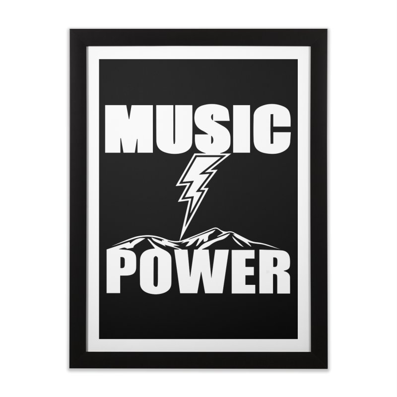 MUSICANDPOWER Big Logo (White) Home Framed Fine Art Print by HiFi Brand