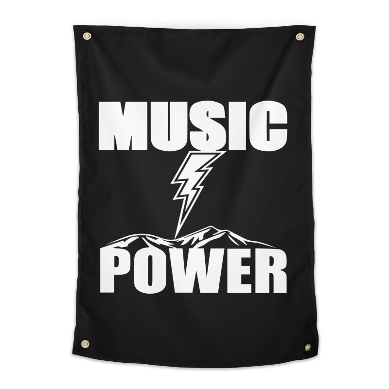 MUSICANDPOWER Big Logo (White) Home Tapestry by HiFi Brand