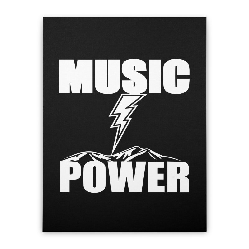 MUSICANDPOWER Big Logo (White) Home Stretched Canvas by HiFi Brand