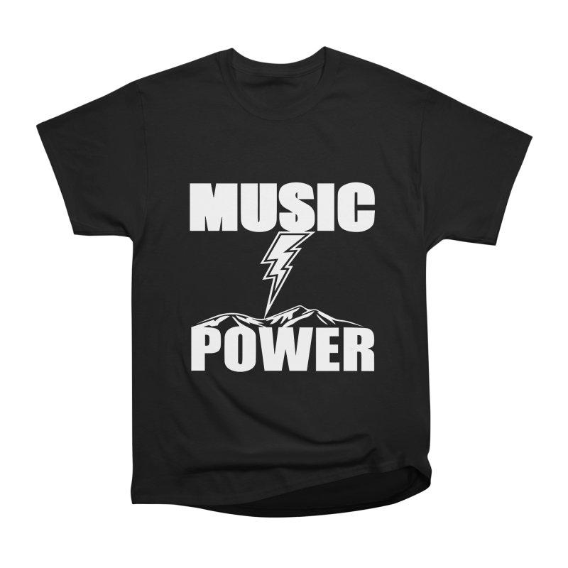 MUSICANDPOWER Big Logo (White) Men's Heavyweight T-Shirt by HiFi Brand