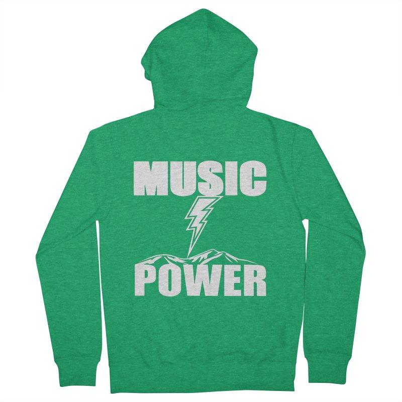 MUSICANDPOWER Big Logo (White) Women's Zip-Up Hoody by HiFi Brand