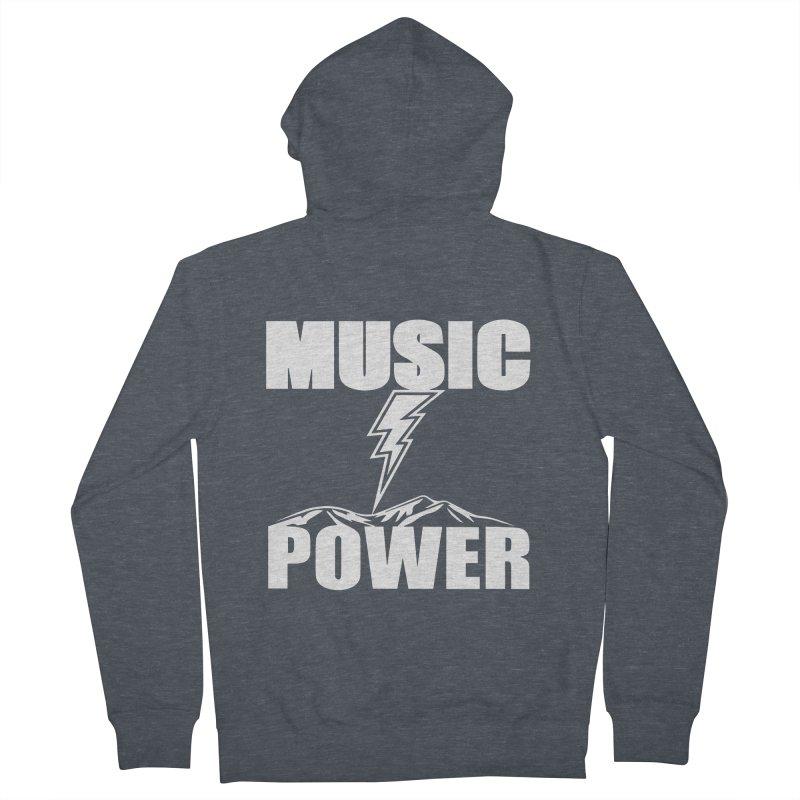 MUSICANDPOWER Big Logo (White) Women's French Terry Zip-Up Hoody by HiFi Brand
