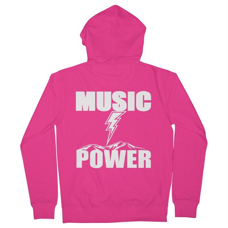 MUSICANDPOWER Big Logo (White) Men's Zip-Up Hoody by HiFi Brand