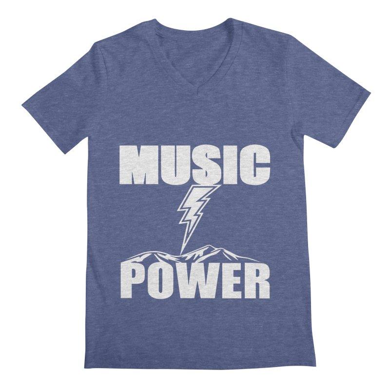 MUSICANDPOWER Big Logo (White) Men's V-Neck by HiFi Brand