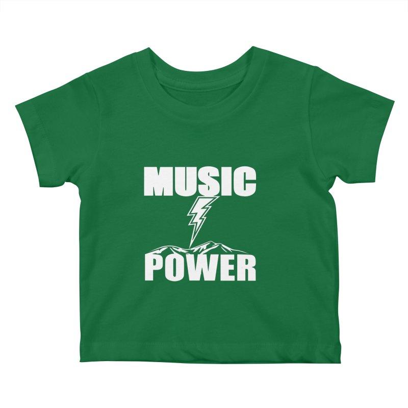 MUSICANDPOWER Big Logo (White) Kids Baby T-Shirt by HiFi Brand
