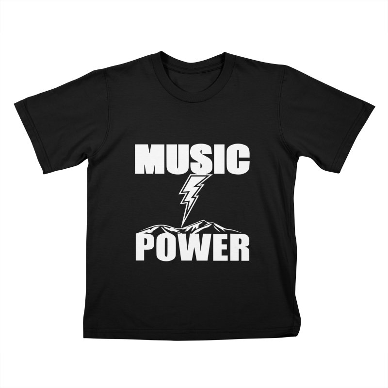 MUSICANDPOWER Big Logo (White) Kids T-Shirt by HiFi Brand