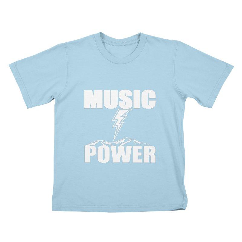 MUSICANDPOWER Big Logo (White) Kids T-Shirt by HiFi Brand