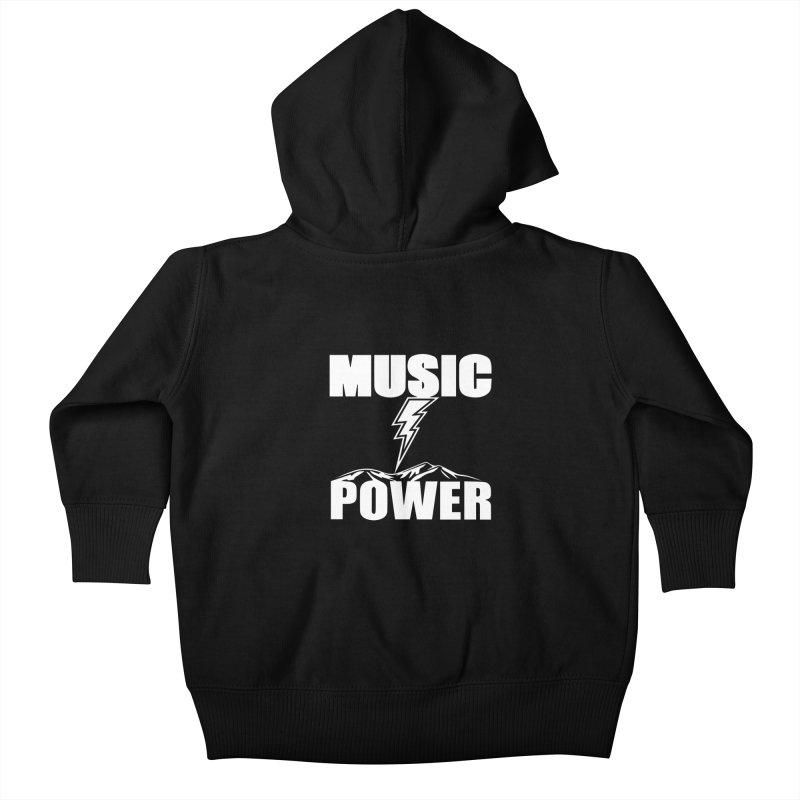 MUSICANDPOWER Big Logo (White) Kids Baby Zip-Up Hoody by HiFi Brand