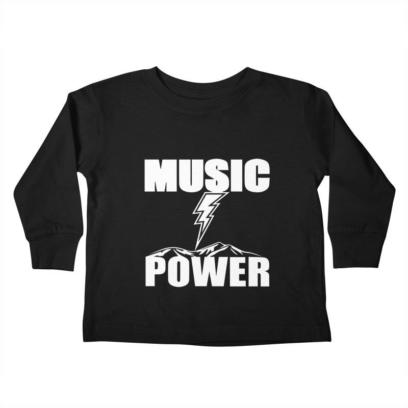 MUSICANDPOWER Big Logo (White) Kids Toddler Longsleeve T-Shirt by HiFi Brand