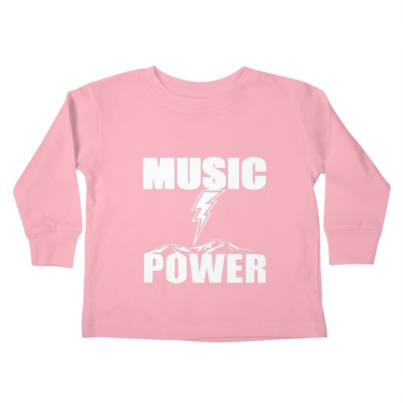 MUSICANDPOWER Big Logo (White) Kids Toddler Longsleeve T-Shirt by HiFi Brand