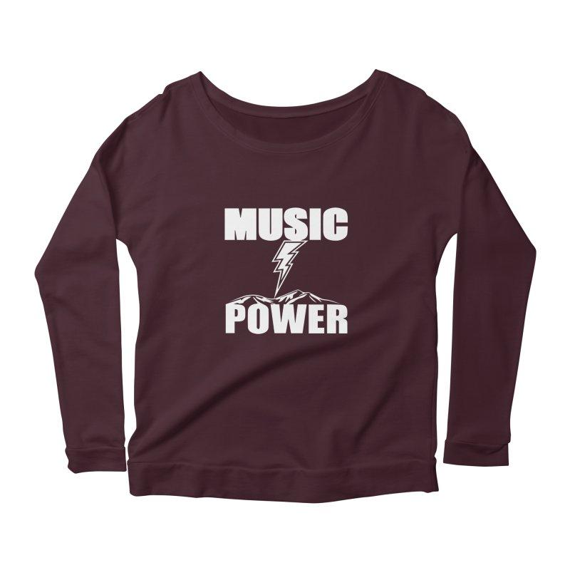 MUSICANDPOWER Big Logo (White) Women's Scoop Neck Longsleeve T-Shirt by HiFi Brand