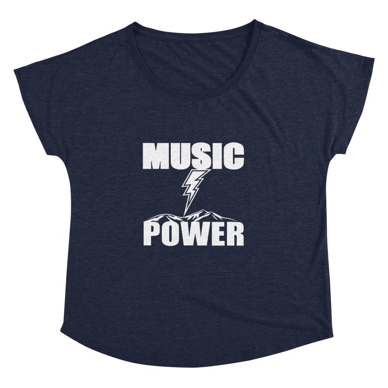 MUSICANDPOWER Big Logo (White) Women's Dolman Scoop Neck by HiFi Brand