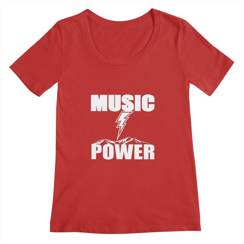 MUSICANDPOWER Big Logo (White) Women's Regular Scoop Neck by HiFi Brand