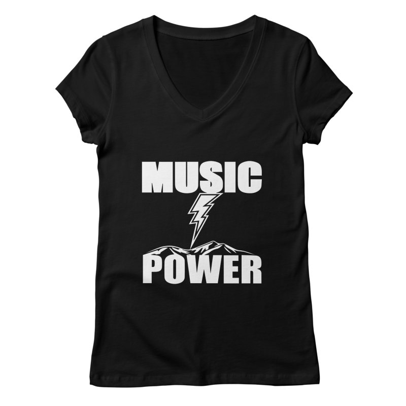 MUSICANDPOWER Big Logo (White) Women's V-Neck by HiFi Brand