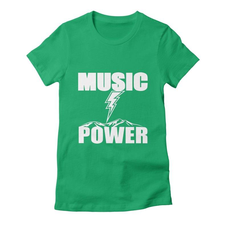 MUSICANDPOWER Big Logo (White) Women's Fitted T-Shirt by HiFi Brand