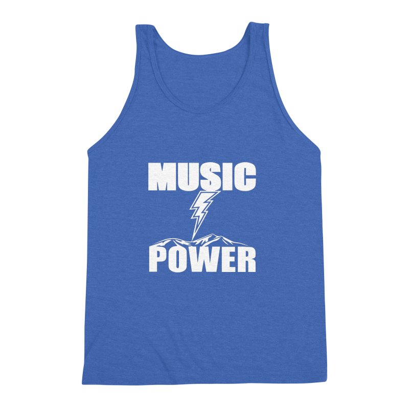 MUSICANDPOWER Big Logo (White) Men's Triblend Tank by HiFi Brand