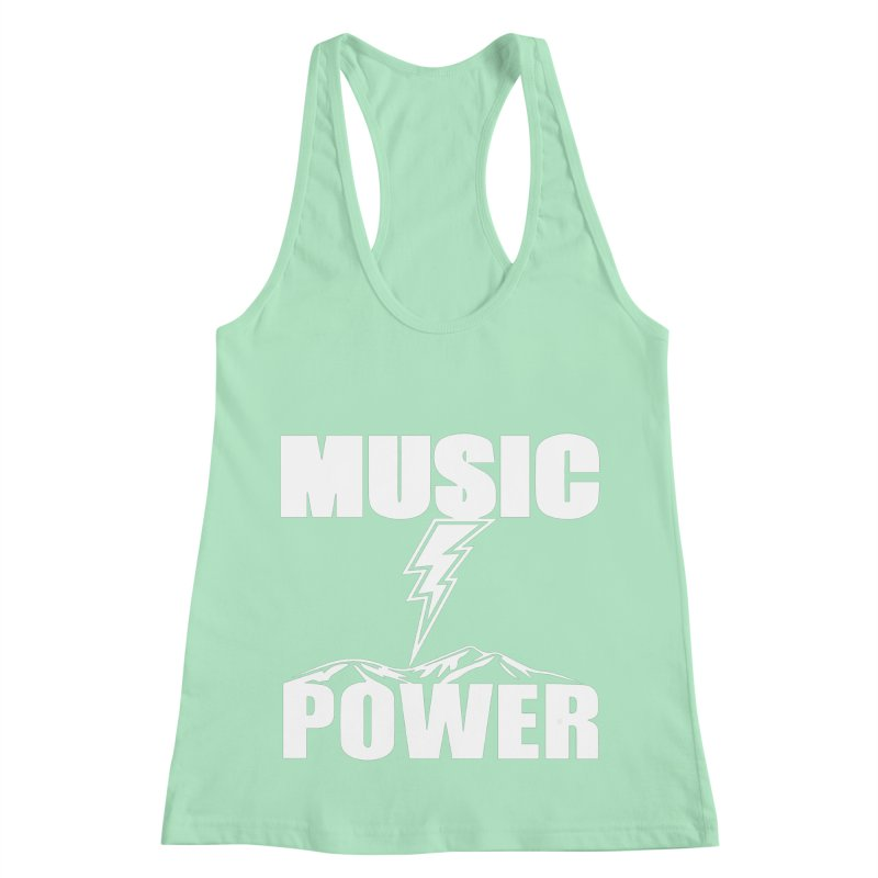 MUSICANDPOWER Big Logo (White) Women's Racerback Tank by HiFi Brand