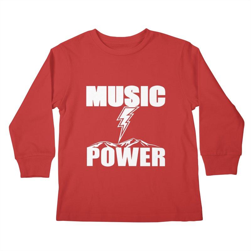 MUSICANDPOWER Big Logo (White) Kids Longsleeve T-Shirt by HiFi Brand