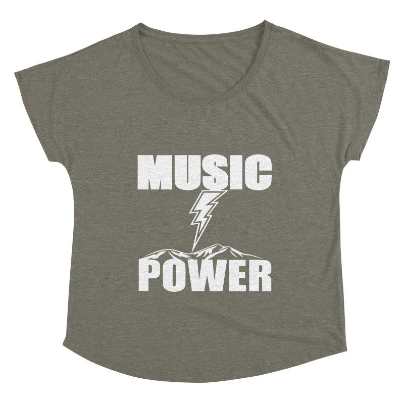 MUSICANDPOWER Big Logo (White) Women's Scoop Neck by HiFi Brand