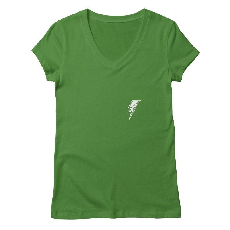 Flash Small Logo (White) Women's V-Neck by HiFi Brand