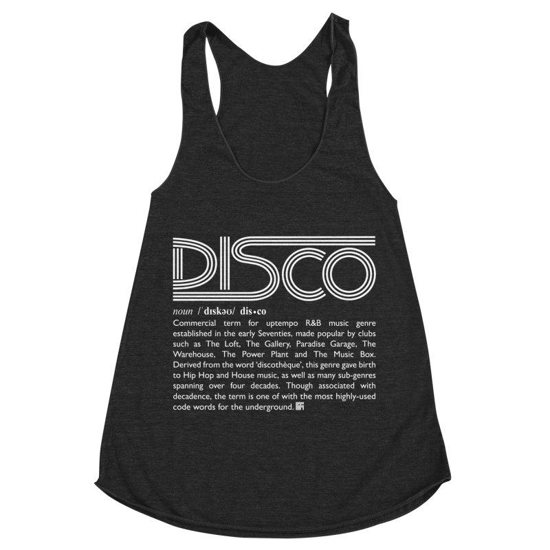 Definitions: Disco (White)  in Women's Racerback Triblend Tank Heather Onyx by HiFi Brand