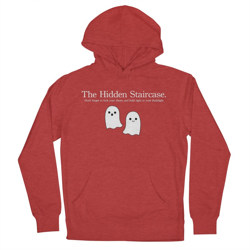 Hidden Staircase Tagline with Ghosts White lettering Men's French Terry Pullover Hoody by The Hidden Staircase's Artist Shop
