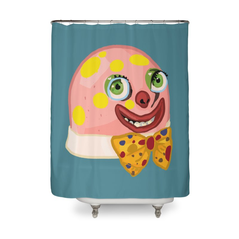 Mr. Blobby Home Shower Curtain by Hoarse's Artist Shop
