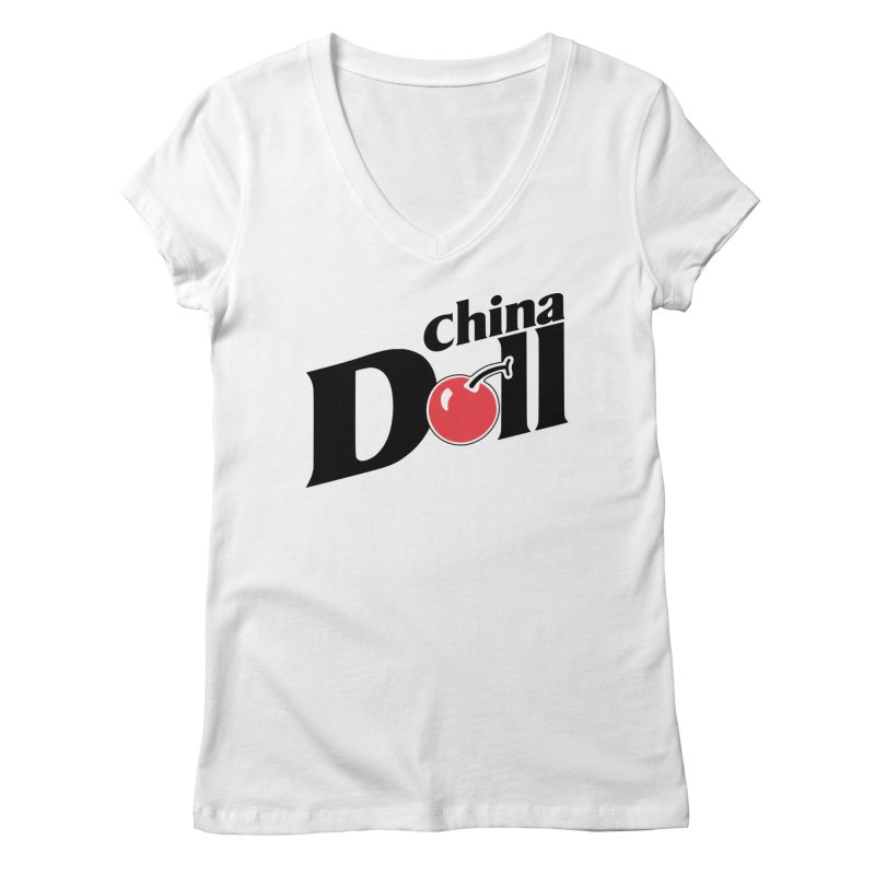 Cherry China Doll Women's V-Neck by Troffman's Artist Shop