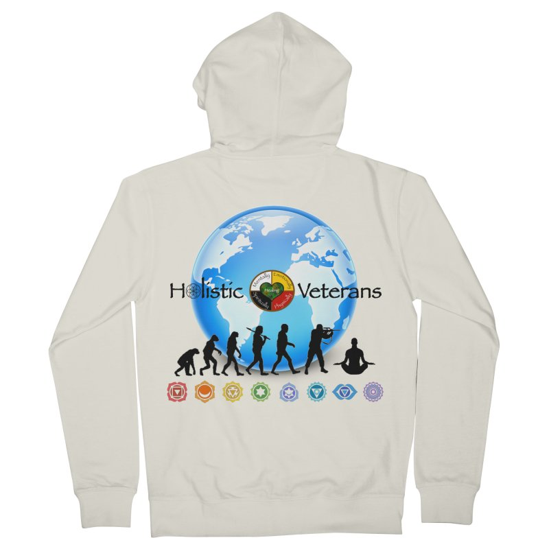 HV Logo Earth Chakra Men's French Terry Zip-Up Hoody by HolisticVeterans Store