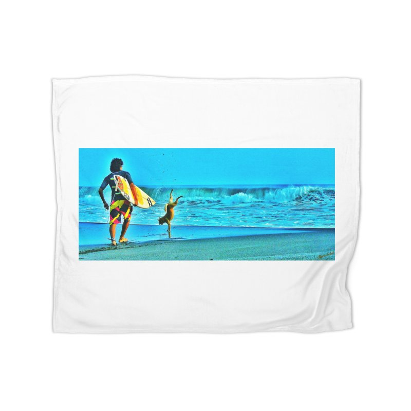Surf Dog by Tigra Soleil - Air Force Veteran  Home Fleece Blanket Blanket by HolisticVeterans Store