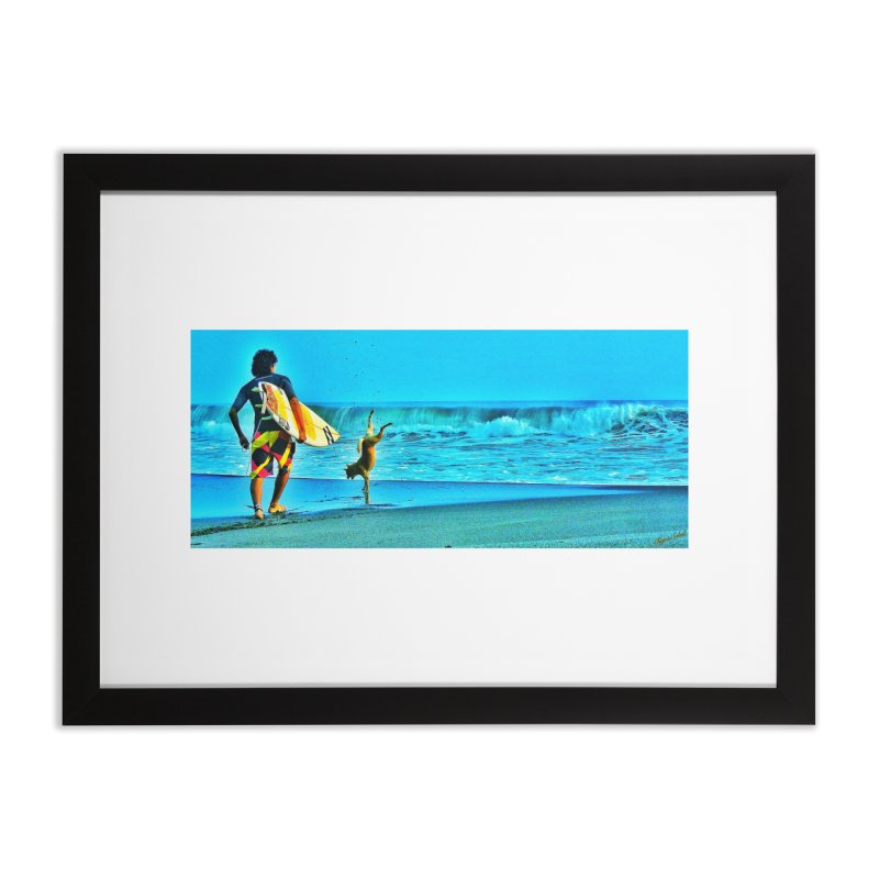 Surf Dog by Tigra Soleil - Air Force Veteran  Home Framed Fine Art Print by HolisticVeterans Store