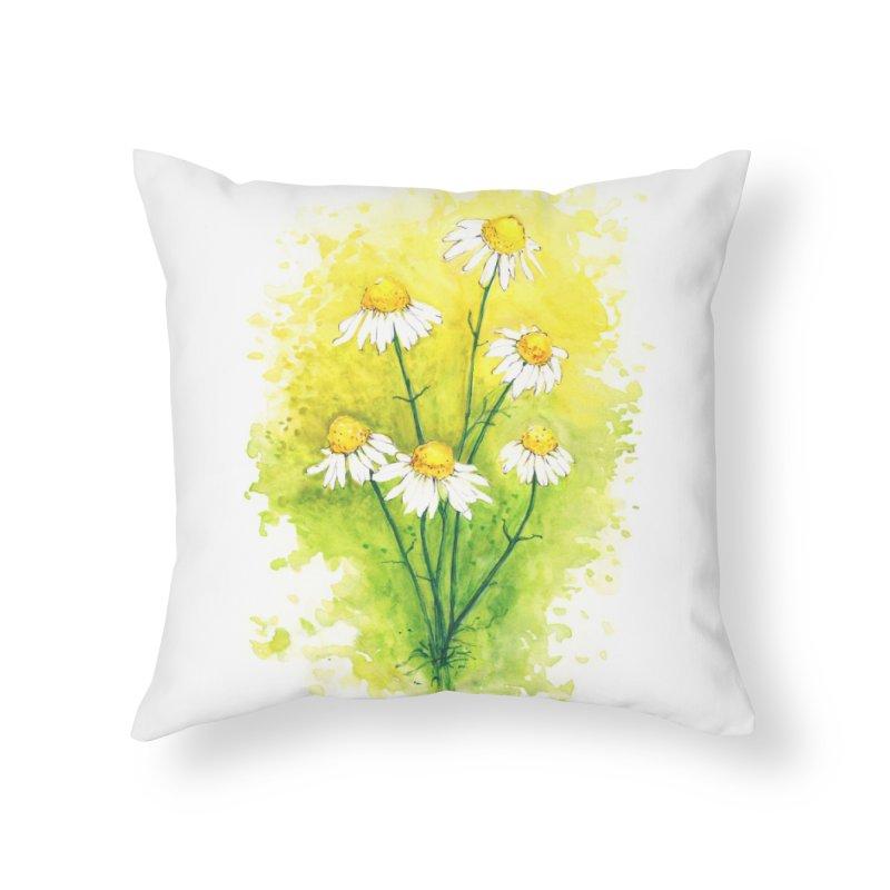 Chamomile Home Throw Pillow by HoneyGherkin's Artist Shop