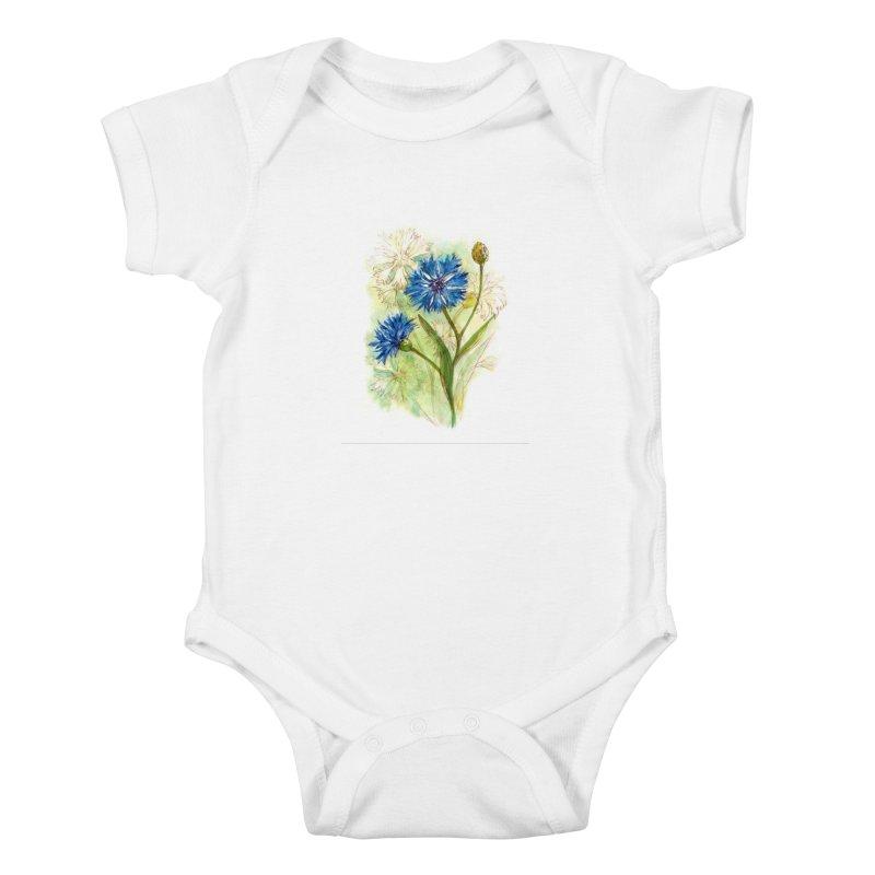 Cornflower Kids Baby Bodysuit by HoneyGherkin's Artist Shop