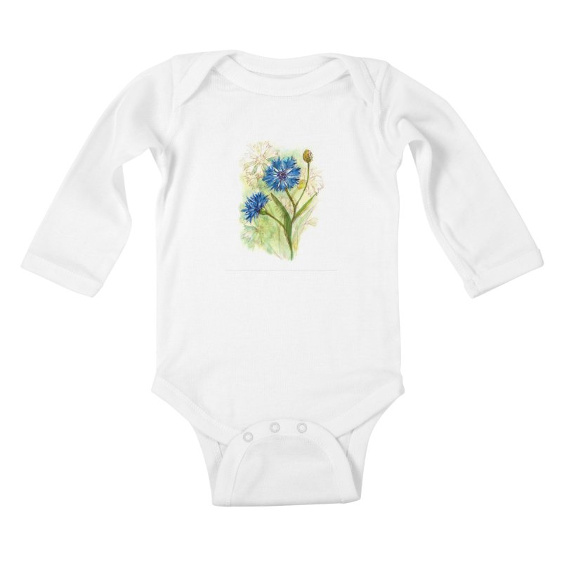 Cornflower Kids Baby Longsleeve Bodysuit by HoneyGherkin's Artist Shop