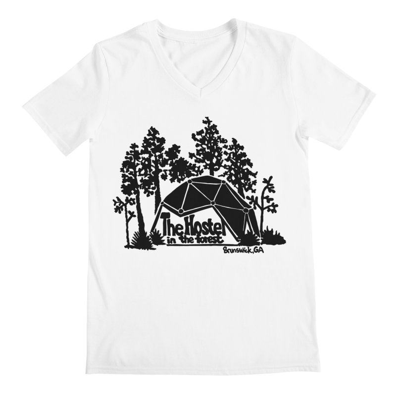 Hostel In The Forest Dome Logo, on a clear background Men's V-Neck by Hostel in the Forest