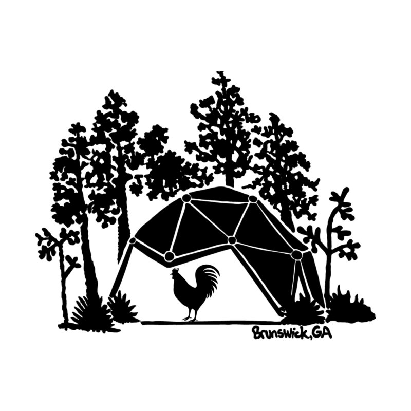 Hostel in the Forest Dome Rooster white background Men's Tank by Hostel in the Forest