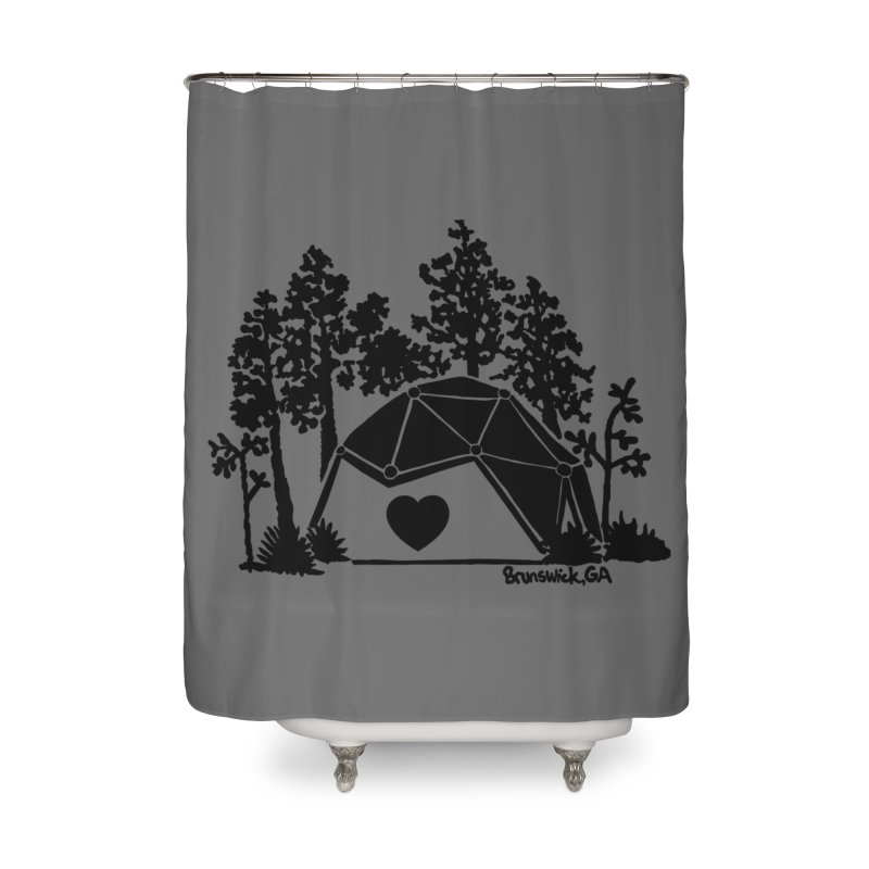 Hostel in the Forest Dome Heart, on a grey background Home Shower Curtain by Hostel in the Forest